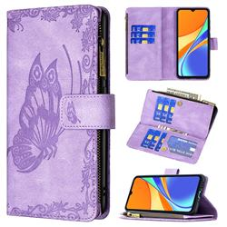 Binfen Color Imprint Vivid Butterfly Buckle Zipper Multi-function Leather Phone Wallet for Xiaomi Redmi 9C - Purple