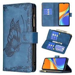 Binfen Color Imprint Vivid Butterfly Buckle Zipper Multi-function Leather Phone Wallet for Xiaomi Redmi 9C - Blue