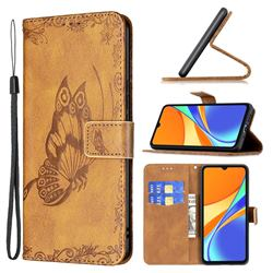 Binfen Color Imprint Vivid Butterfly Leather Wallet Case for Xiaomi Redmi 9C - Brown