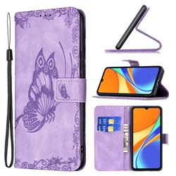 Binfen Color Imprint Vivid Butterfly Leather Wallet Case for Xiaomi Redmi 9C - Purple