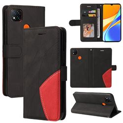 Luxury Two-color Stitching Leather Wallet Case Cover for Xiaomi Redmi 9C - Black