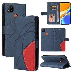 Luxury Two-color Stitching Leather Wallet Case Cover for Xiaomi Redmi 9C - Blue