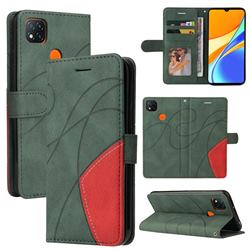 Luxury Two-color Stitching Leather Wallet Case Cover for Xiaomi Redmi 9C - Green