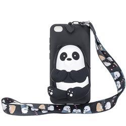 Cute Panda Neck Lanyard Zipper Wallet Silicone Case for Mi Xiaomi Redmi Go