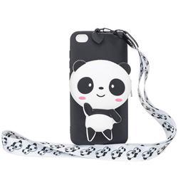 White Panda Neck Lanyard Zipper Wallet Silicone Case for Mi Xiaomi Redmi Go