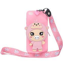 Pink Pig Neck Lanyard Zipper Wallet Silicone Case for Mi Xiaomi Redmi Go