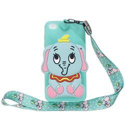 Blue Elephant Neck Lanyard Zipper Wallet Silicone Case for Mi Xiaomi Redmi Go