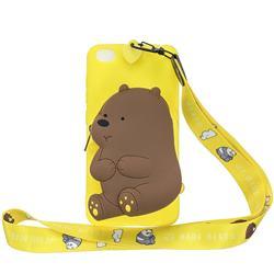 Yellow Bear Neck Lanyard Zipper Wallet Silicone Case for Mi Xiaomi Redmi Go