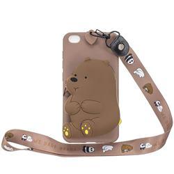 Brown Bear Neck Lanyard Zipper Wallet Silicone Case for Mi Xiaomi Redmi Go