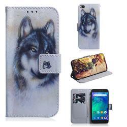 Snow Wolf PU Leather Wallet Case for Mi Xiaomi Redmi Go
