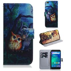 Oil Painting Owl PU Leather Wallet Case for Mi Xiaomi Redmi Go