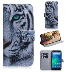 White Tiger PU Leather Wallet Case for Mi Xiaomi Redmi Go