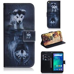 Wolf and Dog PU Leather Wallet Case for Mi Xiaomi Redmi Go