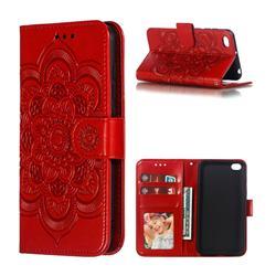 Intricate Embossing Datura Solar Leather Wallet Case for Mi Xiaomi Redmi Go - Red