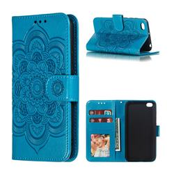 Intricate Embossing Datura Solar Leather Wallet Case for Mi Xiaomi Redmi Go - Blue