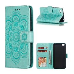 Intricate Embossing Datura Solar Leather Wallet Case for Mi Xiaomi Redmi Go - Green