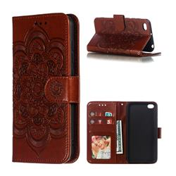 Intricate Embossing Datura Solar Leather Wallet Case for Mi Xiaomi Redmi Go - Brown