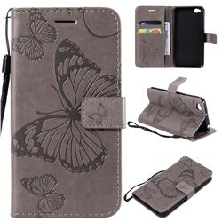Embossing 3D Butterfly Leather Wallet Case for Mi Xiaomi Redmi Go - Gray