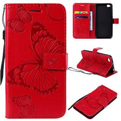 Embossing 3D Butterfly Leather Wallet Case for Mi Xiaomi Redmi Go - Red