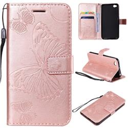 Embossing 3D Butterfly Leather Wallet Case for Mi Xiaomi Redmi Go - Rose Gold