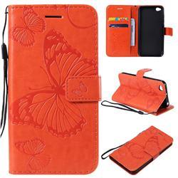 Embossing 3D Butterfly Leather Wallet Case for Mi Xiaomi Redmi Go - Orange