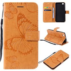 Embossing 3D Butterfly Leather Wallet Case for Mi Xiaomi Redmi Go - Yellow