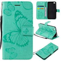 Embossing 3D Butterfly Leather Wallet Case for Mi Xiaomi Redmi Go - Green