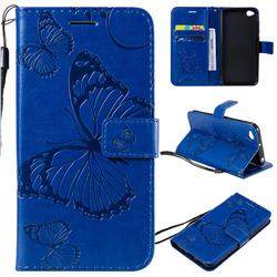 Embossing 3D Butterfly Leather Wallet Case for Mi Xiaomi Redmi Go - Blue