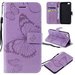 Embossing 3D Butterfly Leather Wallet Case for Mi Xiaomi Redmi Go - Purple