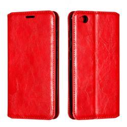 Retro Slim Magnetic Crazy Horse PU Leather Wallet Case for Mi Xiaomi Redmi Go - Red