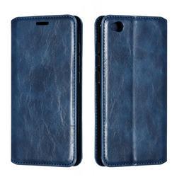 Retro Slim Magnetic Crazy Horse PU Leather Wallet Case for Mi Xiaomi Redmi Go - Blue