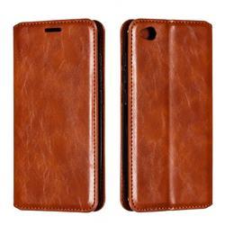 Retro Slim Magnetic Crazy Horse PU Leather Wallet Case for Mi Xiaomi Redmi Go - Brown