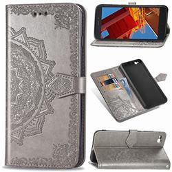 Embossing Imprint Mandala Flower Leather Wallet Case for Mi Xiaomi Redmi Go - Gray