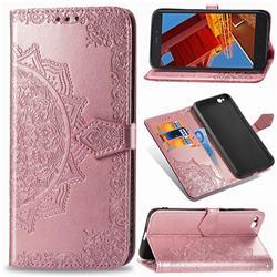 Embossing Imprint Mandala Flower Leather Wallet Case for Mi Xiaomi Redmi Go - Rose Gold