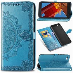 Embossing Imprint Mandala Flower Leather Wallet Case for Mi Xiaomi Redmi Go - Blue
