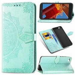 Embossing Imprint Mandala Flower Leather Wallet Case for Mi Xiaomi Redmi Go - Green