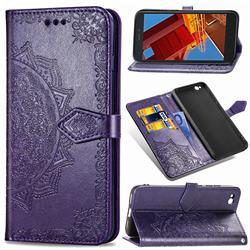 Embossing Imprint Mandala Flower Leather Wallet Case for Mi Xiaomi Redmi Go - Purple