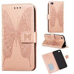 Intricate Embossing Vivid Butterfly Leather Wallet Case for Mi Xiaomi Redmi Go - Rose Gold