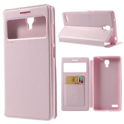 Roar Korea Noble View Leather Flip Cover for Xiaomi Redmi Note / Hongmi Note - Pink