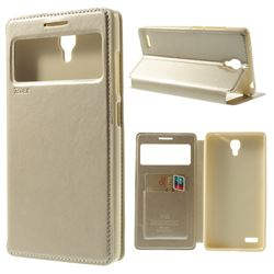 Roar Korea Noble View Leather Flip Cover for Xiaomi Redmi Note / Hongmi Note - Champagne