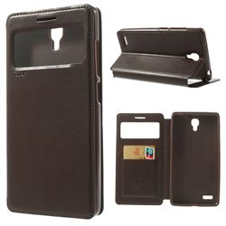 Roar Korea Noble View Leather Flip Cover for Xiaomi Redmi Note / Hongmi Note - Brown