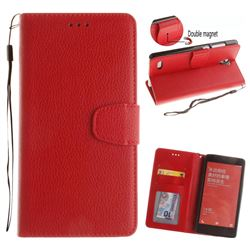 Litchi Pattern PU Leather Wallet Case for Xiaomi Redmi Note Hongmi Note - Red