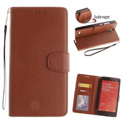 Litchi Pattern PU Leather Wallet Case for Xiaomi Redmi Note Hongmi Note - Brown