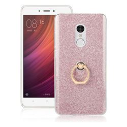 Luxury Soft TPU Glitter Back Ring Cover with 360 Rotate Finger Holder Buckle for Xiaomi Redmi Note 4 Red Mi Note4 - Pink