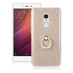 Luxury Soft TPU Glitter Back Ring Cover with 360 Rotate Finger Holder Buckle for Xiaomi Redmi Note 4 Red Mi Note4 - Golden