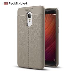 Luxury Auto Focus Litchi Texture Silicone TPU Back Cover for Xiaomi Redmi Note 4 Red Mi Note4 - Gray