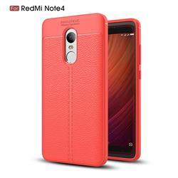 Luxury Auto Focus Litchi Texture Silicone TPU Back Cover for Xiaomi Redmi Note 4 Red Mi Note4 - Red