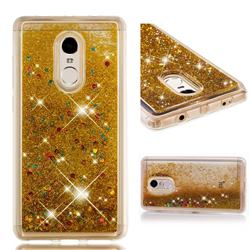 Dynamic Liquid Glitter Quicksand Sequins TPU Phone Case for Xiaomi Redmi Note 4 Red Mi Note4 - Golden