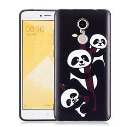 Bamboo Three Pandas 3D Embossed Relief Black Soft Phone Back Cover for Xiaomi Redmi Note 4 Red Mi Note4
