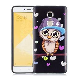 Bad Heart Owl 3D Embossed Relief Black Soft Phone Back Cover for Xiaomi Redmi Note 4 Red Mi Note4